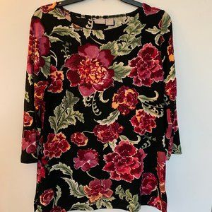 Chico's 3/4 Sleeve Boat Neck Floral Top
